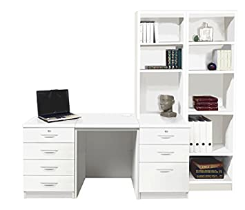 Home Office Furniture UK Desk with HUTCH Shelves Tall Narrow