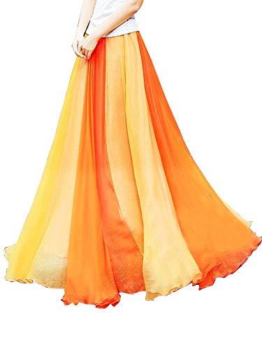 OCHENTA Women's Giant Swing Full Circle Skirt Flowing Maxi Skirt -Orange Yellow-S