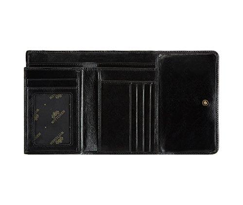 WITTCHEN Portafoglio, Dimensione: 14,5x10cm, Nero, Materiale: Pelle di grano, Orizzontale, Collezione: Italy - 21-1-390-1