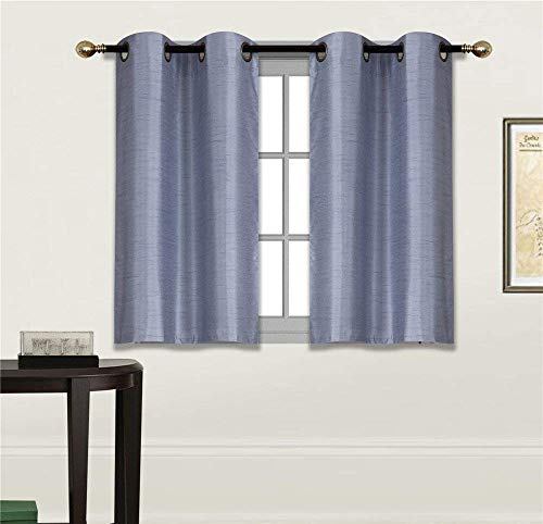 Fancy Linen 2 Panel Faux Silk Blackout Curtain Set Solid Slate Blue with Grommet Top Room Darkening Short Tier Drapes for Kitchen, Bathroom or Any Small Window - Linen Faux Slate