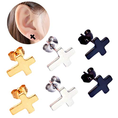Men Women Girls Stud Earrings Classic Titanium Stainless Steel Charms Cross Pattern Earrings Studs for Sensitive Ears