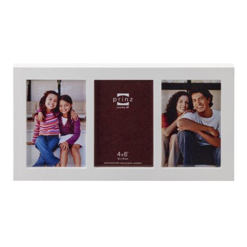 Prinz Carolina Wood Photo Frame, 3/4 by 6-Inch, White - Natural White Picture Frame