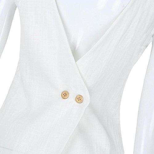 Tops Hem Tops Irrgulier T Rond Col Shirt Dbardeur Chemisier Bouton Blanc sans Mode Femme Manche Sexyville Tfq6ww