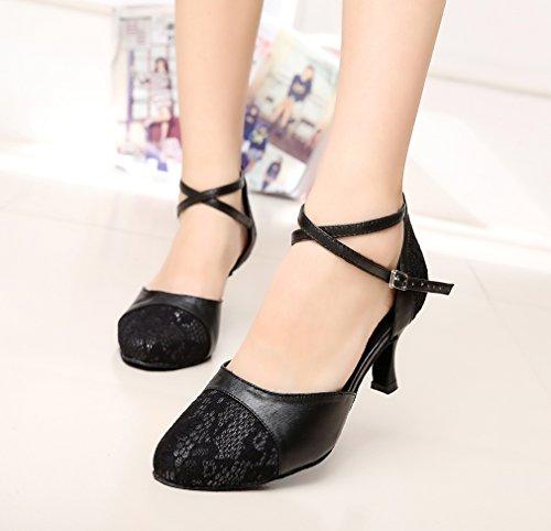 Minitoo Lace Closed Dance QJ6221 Toe Leather Salsa Latin Black Shoes Women's ArqrFxI