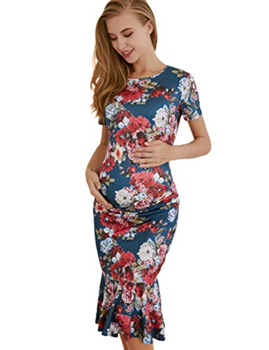 (Fitted Mermaid Maternity Dresses for Special Occasions (2XL, Floral2))