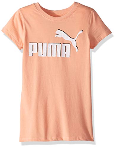 PUMA Big Girls' No .1 Logo T-Shirt, Peach Bud, Large (12/14)