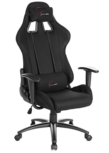 Cheap SEATZONE Brand New High-back Ergonomic Gaming Chair with Soft Headrest and Lumbar Support, Classic 360 Degrees Swivel Racing Chair for Office, Video Game Room, Breathable Fabric, Black