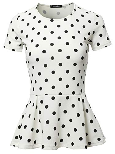 (SSOULM Women's Classic Stretchy Short Sleeve Flare Peplum Blouse Top IVORYPOLKADOT 3X)