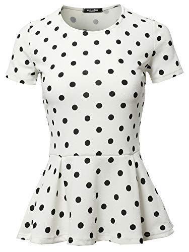 SSOULM Women's Classic Stretchy Short Sleeve Flare Peplum Blouse Top IVORYPOLKADOT 3X