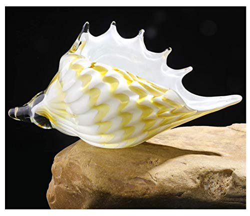 Qf Glass Seashell Handmade Glass Conch, Hand Blown Crystal Conch,Glass Paperweight, Home Decor, Yellow and White