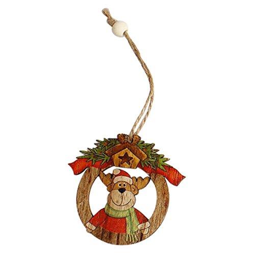 Minertech 2PC Christmas Hanging Pendant Decoration,Wood Chip Tree Ornaments (A)