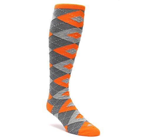 Statement Sockwear Men's Over-the-calf Dress Socks (Tangerine Orange Gray Argyle) (Socks The Over Dress Mens Calf)