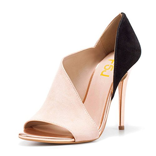FSJ Women Sexy Peep Toe Cutout Pumps Sandals DOrsay Stiletto Heels Party Evening Shoes Size 4-15 US Pink ZYDO5XQ