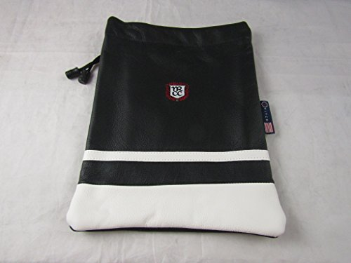 Black Leather Logo Pouch (Stitch Golf Leather Valuables Pouch Black White Tablet Case Bag 8.5