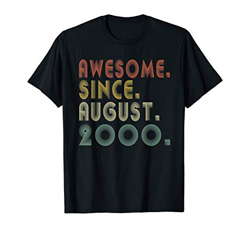 Awesome Since August 2000 Shirt 19th Bday Gifts 19 Yrs Old