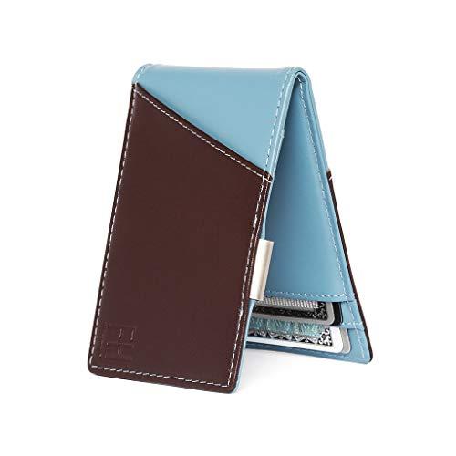F&H Signature Slim RFID Money Clip Wallet in Top Grain Leather (Espresso/Slate)