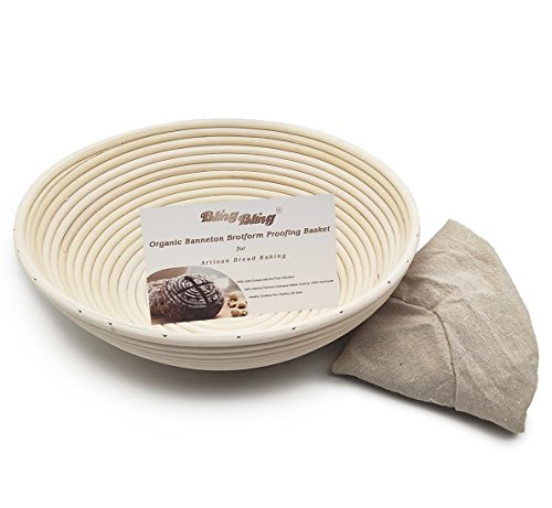 OBeauty 12 Inch Round Handmade Brotform Banneton Proofing Bread Basket for Dough Rising with Cloth Linen Cover