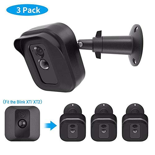 Blink XT2 Camera Wall Mount Bracket, Weather Proof 360° Protective Plastic Housing Cover Case and Adjustable Metal Mount for Blink XT/ XT2 Indoor Outdoor Home Security Camera System (Black(3 Packs))