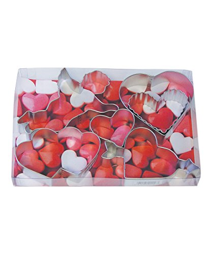 R&M International 1964 Valentine's Day Cookie Cutters, 5 Different Hearts and Cupid, 6-Piece Set