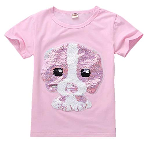 Tsyllyp Girls Boys Dog Magic Flip Sequins T-Shirt Crew Casual Tee Shirts Tops