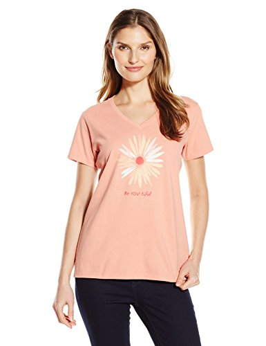 (Life is Good Women's Be You Tiful Daisy Vee Crusher Tee, Large, Tawny Peach)