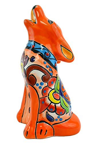 Talavera Coyote 9″ Hand Painted Ceramic Garden Decor (Orange) For Sale