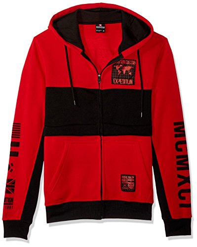 Southpole Men's Long Sleeve Hooded Fleece Fullzip With Nylon Patch, Red, Large