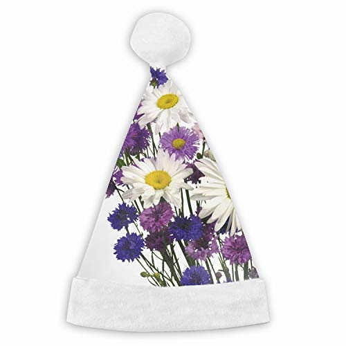 Daisies Cornflowers Carnations Bouquet White Red Christmas Hat Adults Children Velvet Plush Hat for Cosplay/Party/Holiday/Xmas Tree Decoration