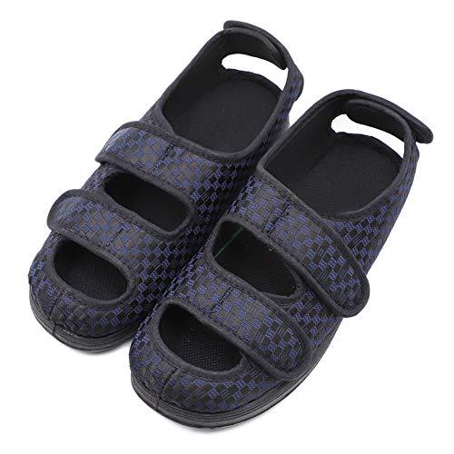 (Women's Extra Wide Width Adjustable Slippers, Diabetic & Edema Slippers Swollen Feet Walking Shoes Indoor/Outdoor Orthopedic Sandals Blue)