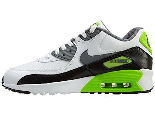 Nike Air Max Grandi Bambini Scarpe Da Corsa 90 In Pelle, Leggero, Confortevole E Resistente Pieno Fiore E Pelle Sintetica Bianco Freddo Verde / Grigio / Elettrico