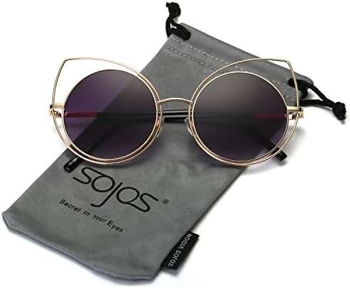 SojoS Women's Metal Frame Cutout Hollow Out Round Cat Eye Sunglasses SJ1046