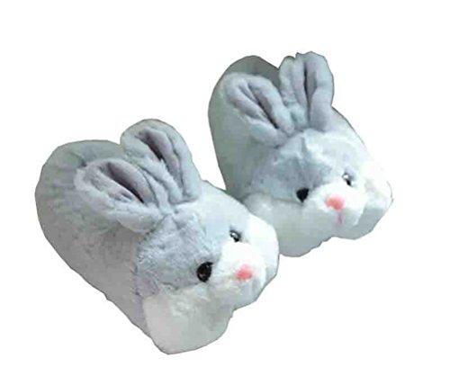 9ab4dc4e22b6e Always Pretty Winter Lovely Rabbit Indoor Slipper Adult Sized Animal  Slippers Grey US 5-7(For Women)