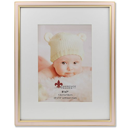 Lawrence Frames 5x7 Pink Enamel and Satin Gold Metal Frame-8x10 Without Mat Picture Frame