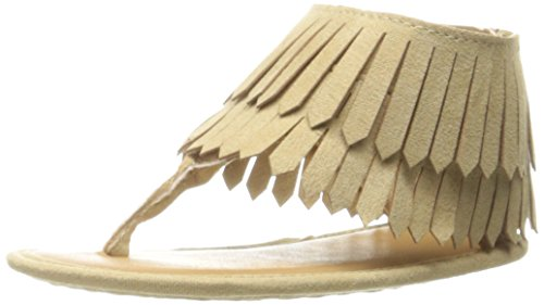 Baby Deer Girls' Fringe Thong Sandal, Tan, 0 M US Infant