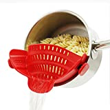 Strainer with 2 Clip for Veggies Pasta Ground Meat and More for Pots Pans,Made by FDA Approved, Heat Resistant Silicone, Red