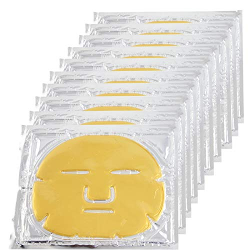 EZGO 10 Pieces 24K Gold Bio-Collagen Renewal Facial Mask, Collagen & Elastin Beauty Mask For Anti-Aging, Tighten Skin & Revitalize Skin (Gold) -