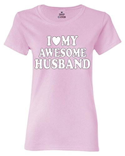 Shop4Ever I Love My Awesome Husband Women's T-Shirt Couples Shirts Medium Light Pink0