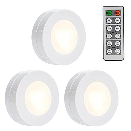 LUNSY Wireless LED Puck Lights, Dimmable Closet Lights Battery Operated with Remote Control, Kitchen Under Cabinet LED Lighting, 4000K Natural White - 3 - Lite Control Lighting