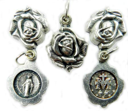 Gifts Catholic, Inc. Miraculous Medal - Locket Style Rose Medal - Silver Oxidized Die-Cast