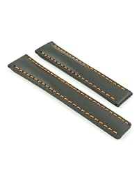 DASSARI G5 Black w/ Orange Stitching Italian Leather Watch Band for Tag Heuer w/ Deployment size 22mm 22/18