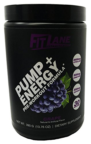 Pre Workout Powder for Men and Women. Best Tasting Preworkout Nitric Oxide Booster with Citrulline & Agmatine to Boost Endurance. Pump + Energy by Fit Lane Nutrition Grape Flavor, 30 Servings.