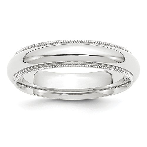 Platinum 5mm Comfort-Fit Milgrain Wedding Band Size 7.5 ()
