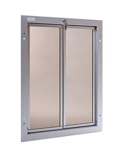 Large White Aluminum Dog Door - PlexiDor Aluminum Dog Door for Door Mounting - Energy Efficient Weatherproof Performance Pet Door with Lock and Security Panel for Dogs & Extreme Dog Fence Grooming Glove Bundle