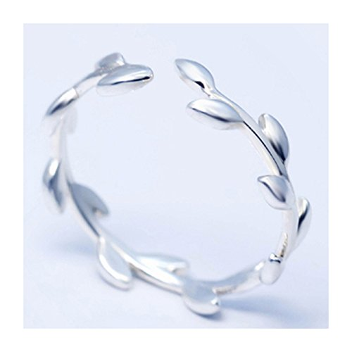 SmallDragon Women's 925 Sterling Silver Olive Branch Tail Ring (Adjustable) Size 6-10 (Leaf Ring)