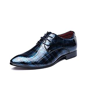 Shoes Comfortable Geometric Pattern Oxford Business Dress Leather Shoes for Men Low Heel Lace Up Waterproof Non-Slip British Casual Wedding Dance Shoes Fashion (Color : Blue, Size : 39 EU)