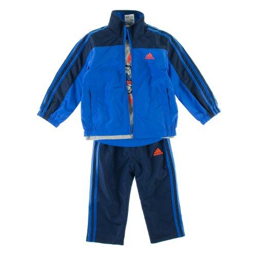 Adidas 3-Piece Boys 2T Athletic Train Hard Play Hard Soccer Windsuit Blue ()