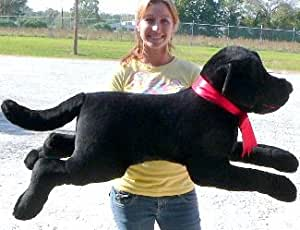 American Made Giant Stuffed Dog 42 Inches Black Labrador Retriever Big Plush Dog - Made in the USA