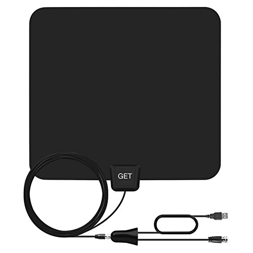 Amplified TV Antenna – Get 50 Miles Range Amplified Indoor Digital HDTV Antenna -Detachable Amplifier Signal Booster-USB Power Supply-13ft High Reception Coax Cable (Digital Hdtv Antenna Indoor)