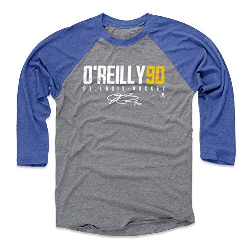 500 LEVEL Ryan O'Reilly Baseball Tee Shirt (Medium, Royal/Heather Gray) - St. Louis Blues Raglan Tee - Ryan O'Reilly Elite Y WHT