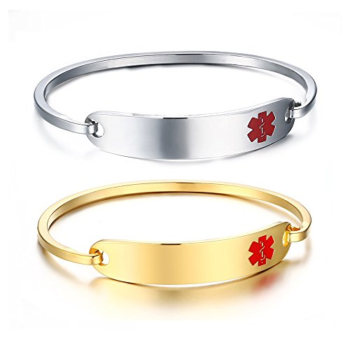 Free Engraving -2Pcs Gold Plated and Silver Medical Alert ID Bangle Bracelet for Women,7.5
